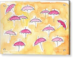 Pink Umbrellas Acrylic Print by Linda Woods
