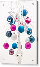 Pink White And Blue Christmas Acrylic Print by Anne Gilbert