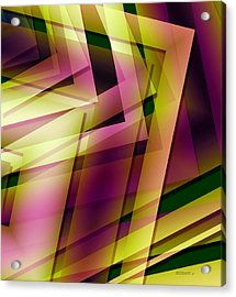 Pink Yellow And Green Geometry Acrylic Print by Mario Perez