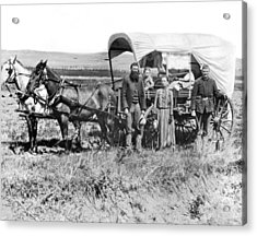 Pioneer Family And Wagon Acrylic Print by Underwood Archives