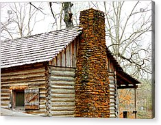Pioneer Log Cabin Chimney Acrylic Print by Kathy  White