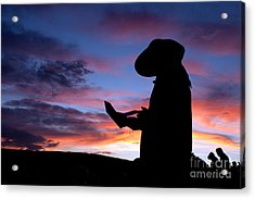 Pioneer Silhouette Reading Letter Acrylic Print by Cindy Singleton
