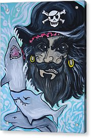 Pirate Shark Tank Acrylic Print by Leslie Manley