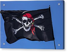 Pirate Skull Flag With Red Scarf Acrylic Print by Garry Gay