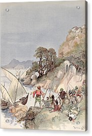 Pirates From The Barbary Coast Capturin Gslaves On The Mediterranean Coast Acrylic Print by Albert Robida