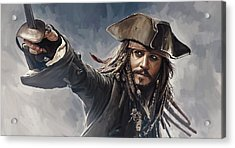 Pirates Of The Caribbean Johnny Depp Artwork 2 Acrylic Print by Sheraz A