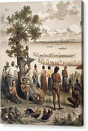 Pirogue Races On The Bassac River Acrylic Print by Louis Delaporte