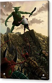 Pit Of Giant Insect Monsters Acrylic Print by Martin Davey