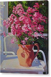 Pitcher With Phlox Acrylic Print by Keith Burgess