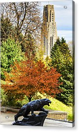 Pitt Panther And Cathedral Of Learning Acrylic Print by Thomas R Fletcher