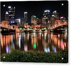 Pittsburgh Across The Allegheny Acrylic Print by Frozen in Time Fine Art Photography