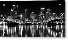 Pittsburgh Black And White Panorama Acrylic Print by Frozen in Time Fine Art Photography