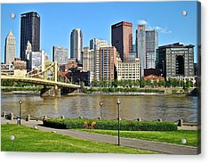 Pittsburgh From The Park Acrylic Print by Frozen in Time Fine Art Photography
