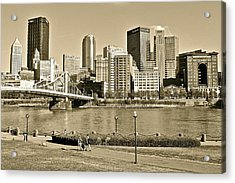 Pittsburgh In Sepia Acrylic Print by Frozen in Time Fine Art Photography