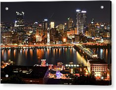 Pittsburgh Over The Monongahela Acrylic Print by Frozen in Time Fine Art Photography