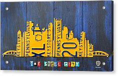 Pittsburgh Skyline License Plate Art Acrylic Print by Design Turnpike