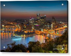Pittsburgh Skyline Morning Twilight I Acrylic Print by Clarence Holmes