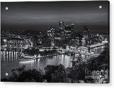 Pittsburgh Skyline Morning Twilight II Acrylic Print by Clarence Holmes