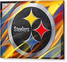 Pittsburgh Steelers Football Acrylic Print by Tony Rubino