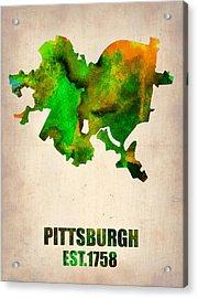 Pittsburgh Watercolor Map Acrylic Print by Naxart Studio
