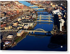 Pittsburgh's North Shore Aerial Acrylic Print by Mattucci Photography