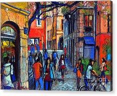 Place Du Petit College In Lyon Acrylic Print by Mona Edulesco