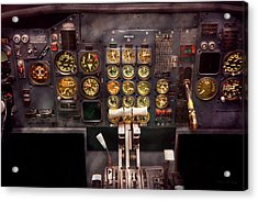Plane - Cockpit - Boeing 727 - The Controls Are Set Acrylic Print by Mike Savad