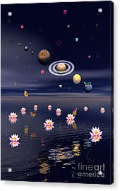 Planets Of The Solar System Surrounded Acrylic Print by Elena Duvernay