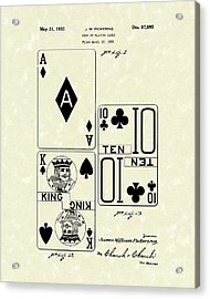 Playing Cards 1869 Patent Art Acrylic Print by Prior Art Design