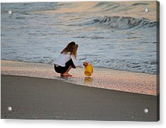 Playing In The Ocean Acrylic Print by Cynthia Guinn