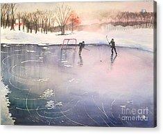 Playing On Ice Acrylic Print by Yoshiko Mishina