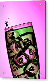 Playing Tennis On A Cup Of Lemonade Little People On Food Acrylic Print by Paul Ge