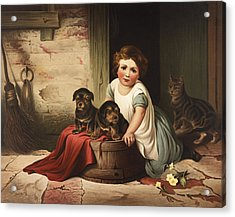 Playing With Friends Circa 1850 Acrylic Print by Aged Pixel