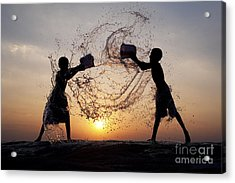 Playing With Water Acrylic Print by Tim Gainey
