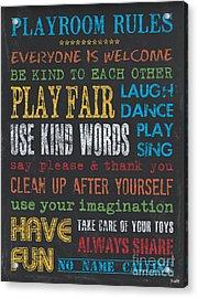 Playroom Rules Acrylic Print by Debbie DeWitt