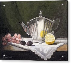 Pleated Teapot With Lemon Acrylic Print by Sarah Parks