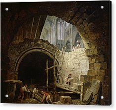Plundering The Royal Vaults At St. Denis In October 1793 Oil On Canvas Acrylic Print by Hubert Robert