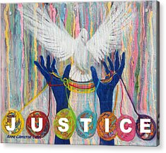 Pms 20 Justice Acrylic Print by Anne Cameron Cutri