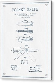 Pocket Knife Patent Drawing From 1886 -  Blue Ink Acrylic Print by Aged Pixel