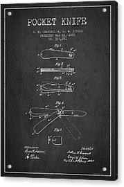 Pocket Knife Patent Drawing From 1886 - Dark Acrylic Print by Aged Pixel