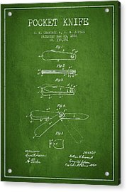 Pocket Knife Patent Drawing From 1886 - Green Acrylic Print by Aged Pixel