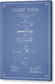 Pocket Knife Patent Drawing From 1886 - Light Blue Acrylic Print by Aged Pixel