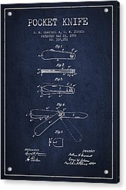 Pocket Knife Patent Drawing From 1886 - Navy Blue Acrylic Print by Aged Pixel