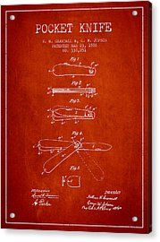 Pocket Knife Patent Drawing From 1886 - Red Acrylic Print by Aged Pixel