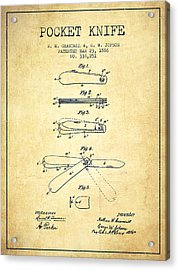 Pocket Knife Patent Drawing From 1886 - Vintage Acrylic Print by Aged Pixel