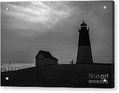 Point Judith Lighthouse Silhouette Acrylic Print by Diane Diederich