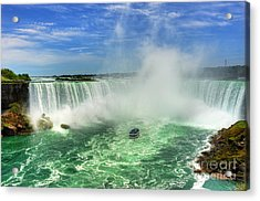 Point Of Land Cut In Two.. Acrylic Print by Nina Stavlund