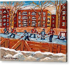 Pointe St. Charles Hockey Rink Southwest Montreal Winter City Scenes Paintings Acrylic Print by Carole Spandau