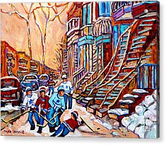 Pointe St.charles Hockey Game Near Winding Staircases Montreal Winter City Scenes Acrylic Print by Carole Spandau