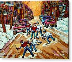 Pointe St.charles Hockey Game Winter Street Scenes Paintings Acrylic Print by Carole Spandau